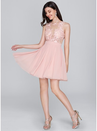 A-Line/Princess Scoop Neck Short/Mini Chiffon Cocktail Dress
