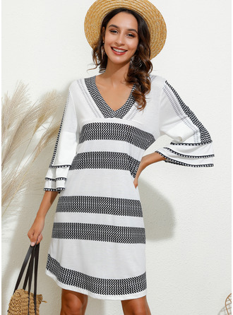 Print Shift 3/4 Sleeves Flare Sleeve Mini Casual Tunic Dresses