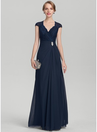 A-Line/Princess V-neck Floor-Length Chiffon Lace Evening Dress With Beading