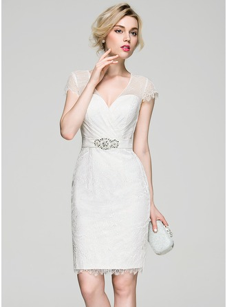 Sheath/Column V-neck Knee-Length Lace Cocktail Dress With Ruffle Beading Sequins