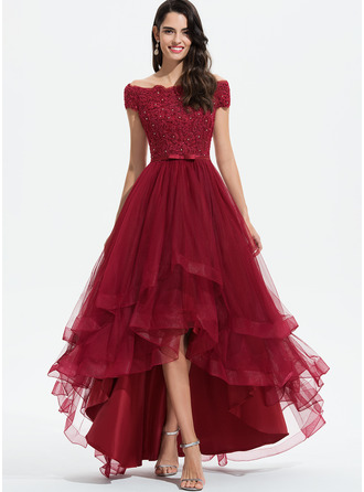 A-Line Off-the-Shoulder Asymmetrical Tulle Evening Dress With Beading Sequins Bow(s)
