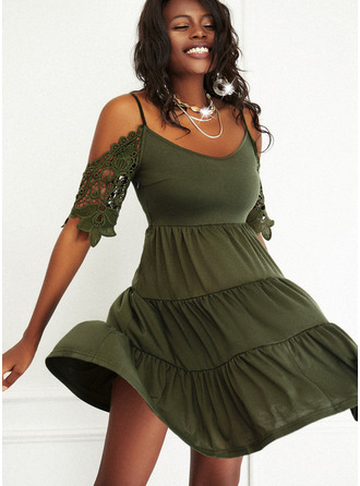 Lace Solid A-line 1/2 Sleeves Mini Casual Skater Dresses
