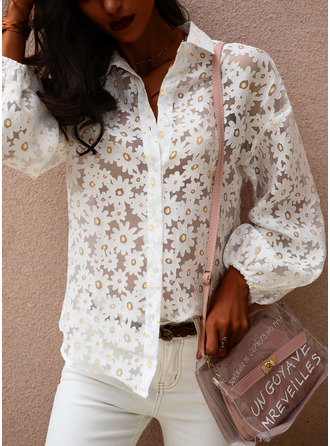 Floral Lapel Long Sleeves Button Up Casual Elegant Sheer Blouses Shirt Blouses