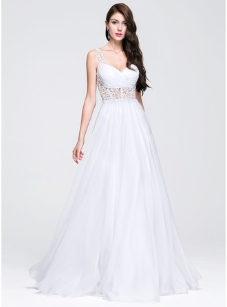 A-Line/Princess Sweetheart Floor-Length Chiffon Prom Dresses With Ruffle Beading Appliques Lace