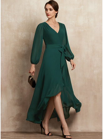A-Line V-neck Asymmetrical Chiffon Cocktail Dress With Bow(s) Cascading Ruffles