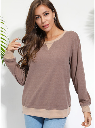 Solid Round Neck Long Sleeves Casual