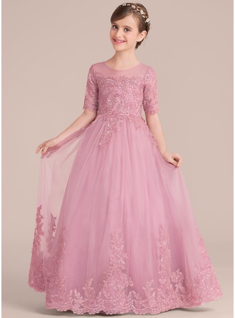 Ball Gown Floor-length Flower Girl Dress - Tulle/Lace 1/2 Sleeves Scoop Neck With Sequins