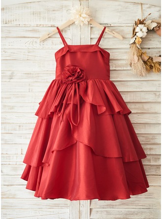 A-Line/Princess Tea-length Flower Girl Dress - Taffeta/Tulle Sleeveless Straps With Flower(s)/Bow(s)