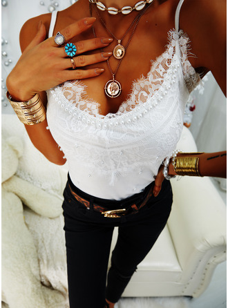 Beaded Lace Solid Spaghetti Straps Sleeveless Casual Tank Tops