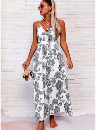 Print Sheath Sleeveless Maxi Boho Casual Vacation Tank Dresses