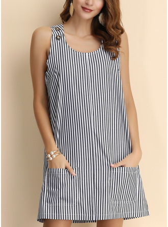 Striped Shift Sleeveless Mini Casual Tank Dresses