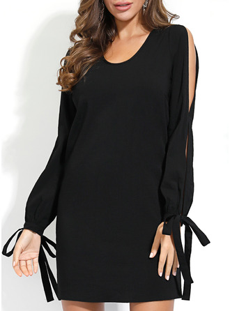 Solid Shift Cold Shoulder Sleeve Long Sleeves Mini Little Black Casual Tunic Dresses