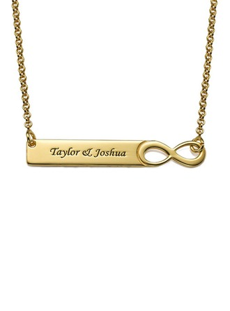 Custom 18k Gold Plated Silver Infinity Engraving/Engraved Two Bar Necklace - Christmas Gifts
