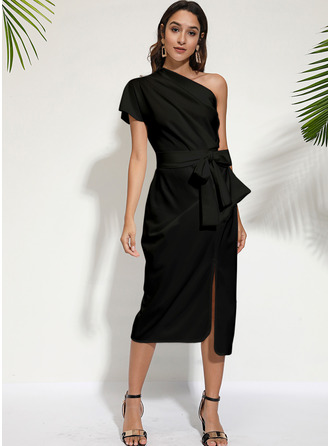 Solid Bodycon Short Sleeves Midi Little Black Party Dresses