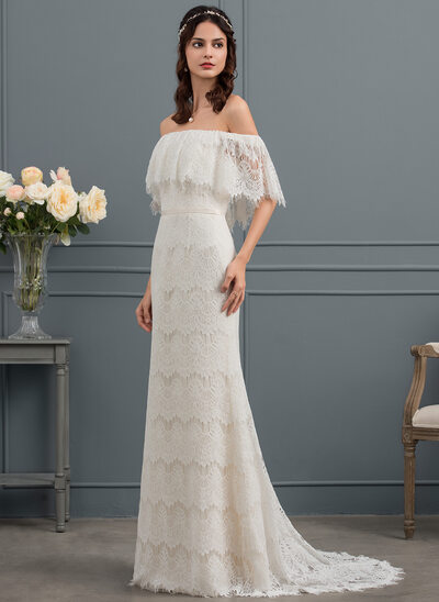 Sheath/Column Off-the-Shoulder Sweep Train Lace Wedding Dress With Bow(s)