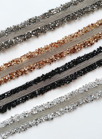 Elegant Satin Belt With Beading/Rhinestones