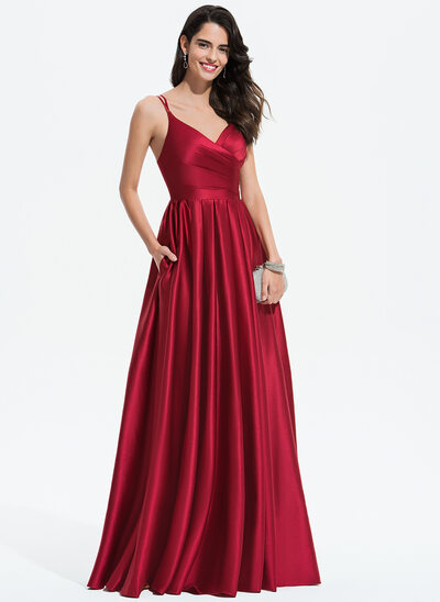 A-Line V-neck Floor-Length Satin Evening Dress With Ruffle Pockets