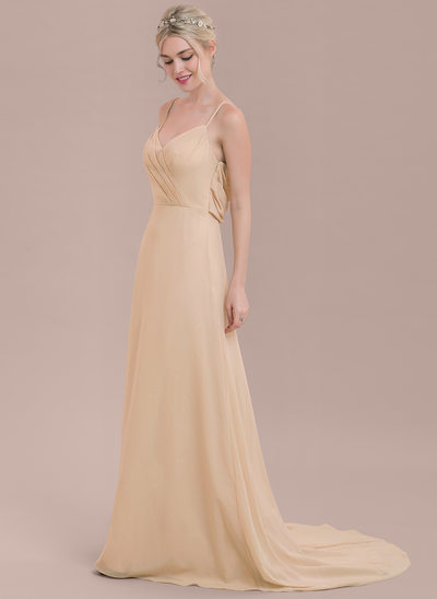A-Line/Princess V-neck Court Train Chiffon Bridesmaid Dress With Ruffle