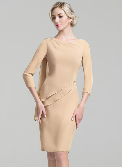Sheath/Column Scoop Neck Knee-Length Chiffon Mother of the Bride Dress With Beading Sequins Cascading Ruffles