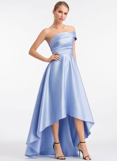 A-Line One-Shoulder Asymmetrisk Satin Aftenkjole