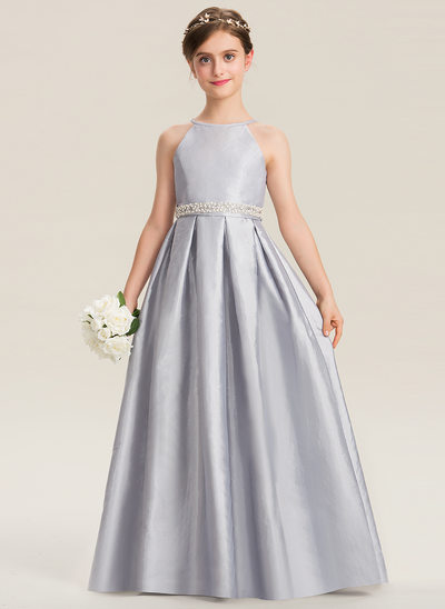 A-Line Scoop Neck Floor-Length Taffeta Junior Bridesmaid Dress With Beading Bow(s)