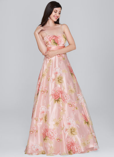 A-Line/Princess Sweetheart Floor-Length Organza Prom Dress