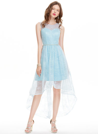 A-Line/Princess Scoop Neck Asymmetrical Lace Homecoming Dress With Beading