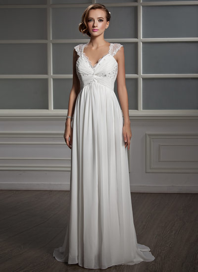 Empire V-neck Sweep Train Chiffon Tulle Wedding Dress With Ruffle Lace Beading
