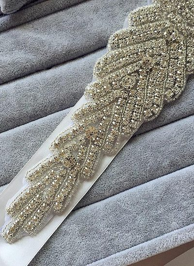 Unique Ribbon Sash With Rhinestones
