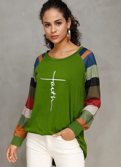 Print Color Block Long Sleeves Cotton Polyester Round Neck T-shirt Blouses