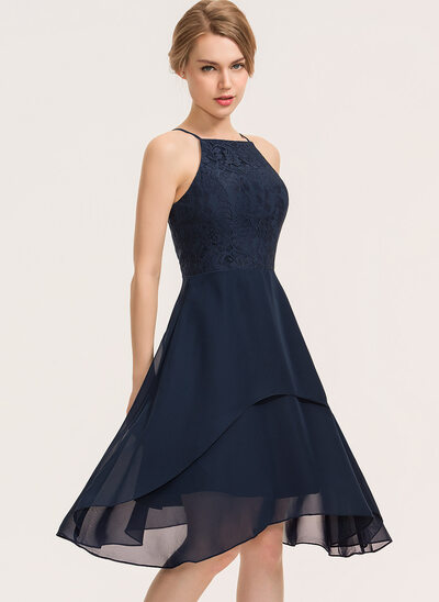 A-Line Square Neckline Knee-Length Chiffon Lace Cocktail Dress With Cascading Ruffles