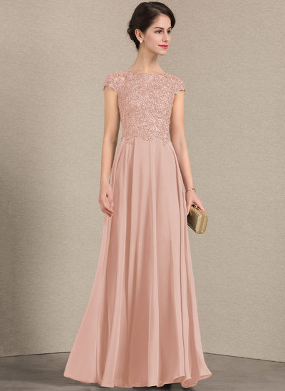 A-Line/Princess Scoop Neck Floor-Length Chiffon Lace Mother of the Bride Dress With Beading