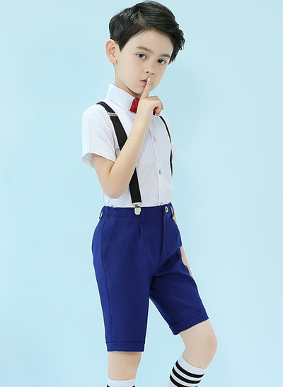 gutter 4 stykker Elegant Suits til ringbærere /Side Boy Suits med Skjorte sløyfe Suspender Shorts