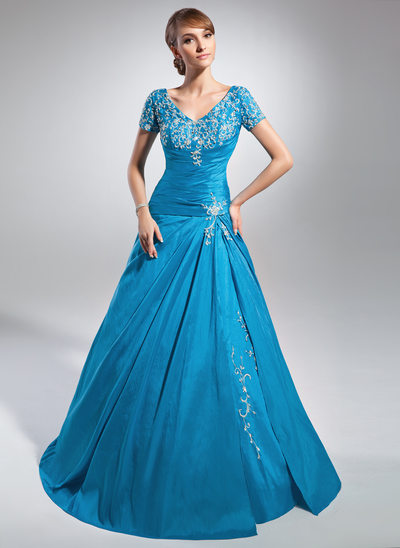 A-Line/Princess V-neck Sweep Train Taffeta Mother of the Bride Dress With Embroidered Ruffle Beading Sequins