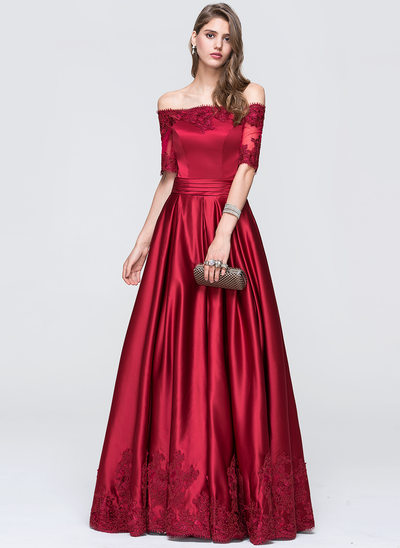 A-formet/Prinsesse Off-the-Shoulder Gulvlengde Satin Ballkjole med Frynse
