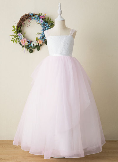 Ball-Gown/Princess Floor-length Flower Girl Dress - Tulle/Lace Sleeveless Square Neckline With Lace