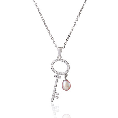 Sterling Silver Pearl Necklace With Key