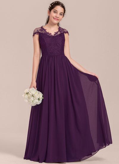 A-Line/Princess V-neck Floor-Length Chiffon Junior Bridesmaid Dress
