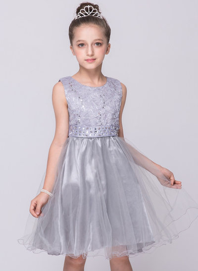 A-Line/Princess Knee-length Flower Girl Dress - Tulle/Polyester Sleeveless Scoop Neck With Rhinestone
