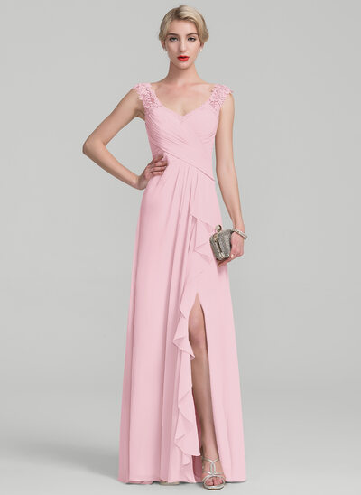 A-Line Floor-Length Chiffon Lace Mother of the Bride Dress With Split Front Cascading Ruffles