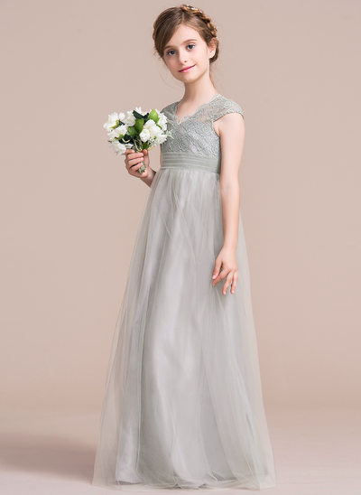 Empire V-neck Floor-Length Tulle Junior Bridesmaid Dress With Ruffle