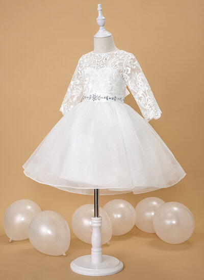 Ball-Gown/Princess Knee-length Flower Girl Dress - Organza/Satin/Lace 3/4 Sleeves Scoop Neck With Beading (Detachable sash)