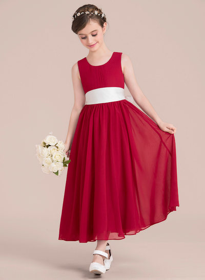 A-Line/Princess Ankle-length Flower Girl Dress - Chiffon/Satin Sleeveless Scoop Neck With Sash/Bow(s)