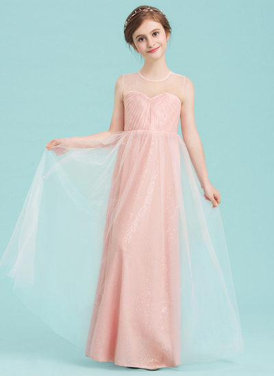 A-Line Scoop Neck Floor-Length Tulle Junior Bridesmaid Dress