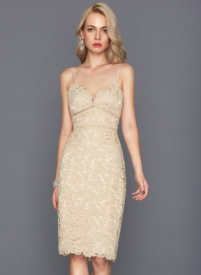 Sheath/Column V-neck Knee-Length Lace Homecoming Dress