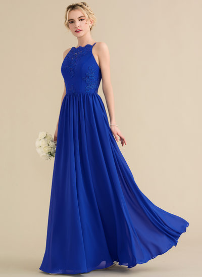 A-Line/Princess Square Neckline Floor-Length Chiffon Lace Prom Dresses