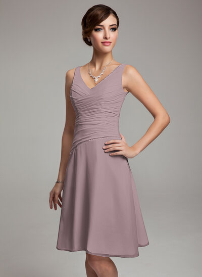 A-Line V-neck Knee-Length Chiffon Bridesmaid Dress With Ruffle Beading Sequins