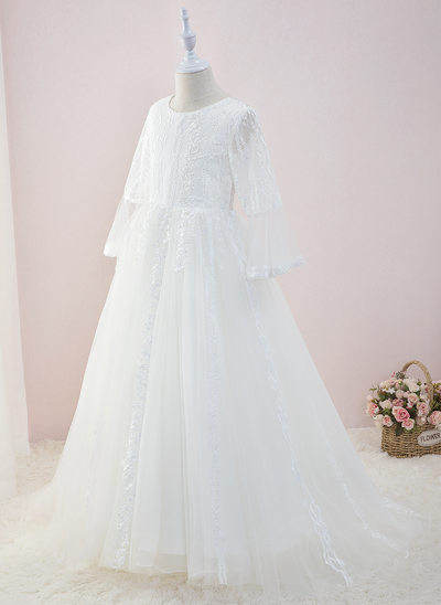 Ball-Gown/Princess Sweep Train Flower Girl Dress - Tulle/Lace Long Sleeves Scoop Neck