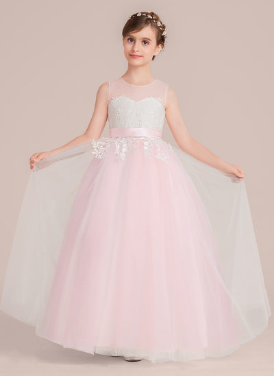 Ball Gown Floor-length Flower Girl Dress - Tulle/Lace Sleeveless Scoop Neck With Sash