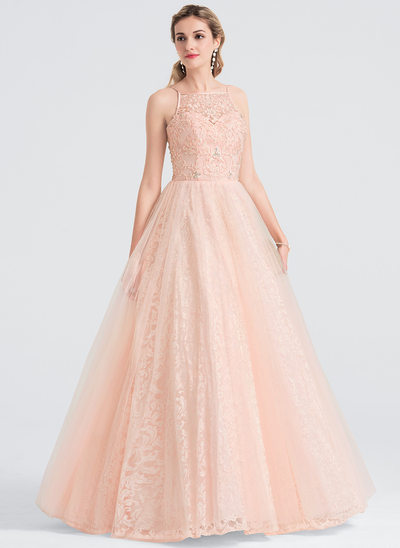 Ball-Gown Square Neckline Floor-Length Tulle Prom Dresses With Beading Sequins